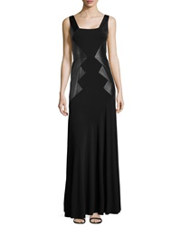 Teri Jon Sleeveless Gown W Faux Leather Sides Black