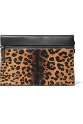 Victoria Beckham Small Calf Hair And Leather Clutch Leopard Print