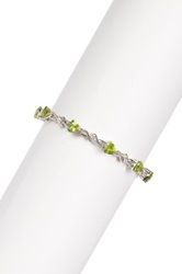 Savvy Cie Peridot And Created White Sapphire Tennis Bracelet 9.40 Ctw Green
