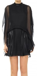 Leon Max Silk Chiffon Caped And Fringed Dress
