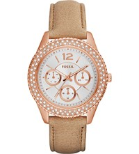 Fossil Es3816 Stella Rose Gold Toned And Leather Watch White