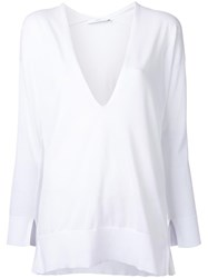 Astraet Deep V Neck Knitted Blouse White