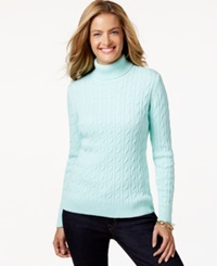 Charter Club Cable Knit Turtleneck Sweater Only At Macy's Mint Kiss