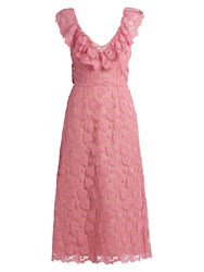 Miu Miu Heart Macrame Lace Midi Dress Light Pink