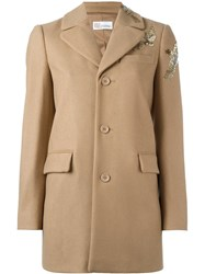Red Valentino Sequined Bird Coat Nude And Neutrals