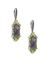 Stephen Dweck Toledo Amethyst Peridot And Sterling Silver Drop Earrings