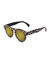 Leonard Round Leopard Pattern Sunglasses With Mirror Lens Black White Illesteva