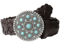 Ariat Turquoise Concho Buckle Braided Belt Brown Women's Belts
