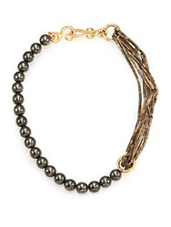 Stephanie Kantis Allure Green Moss Agate And Hematite Beaded Necklace Gold Green