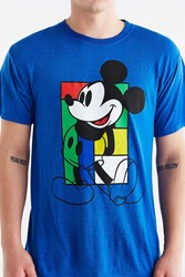 Urban Outfitters Pop Block Mickey Mouse Burnout Tee Blue