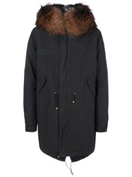 Mr And Mrs Italy Fur Hooded Printed Parka Men Cotton Fox Fur Polyester Viscose S Black