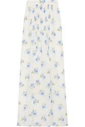 Vilshenko Jo Printed Pleated Silk Gazar Maxi Skirt
