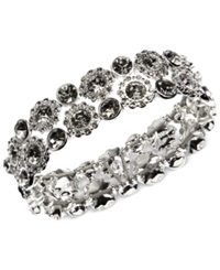 Nine West Silver Tone Crystal Stretch Bracelet