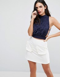 Love High Neck Lace Top Navy