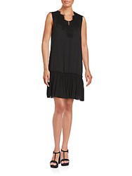 Max Studio Scalloped Neckline Sleeveless Dress Black