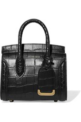Alexander Mcqueen Heroine Small Croc Effect Leather Tote Black