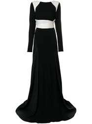 Vionnet Long Sleeved Flared Gown Viscose Silk Spandex Elastane Black