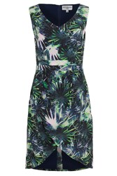 Wolf And Whistle Palm Print Drape Skirt Dress Multi Coloured