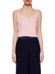 Ted Baker Siina Scallop Neckline Camisole Top Dusky Pink
