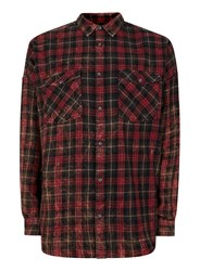 Topman Pink Red Check Bleached Relaxed Fit Casual Shirt
