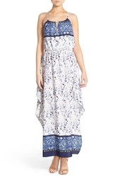 Women's Fraiche By J Border Print Halter Maxi Dress