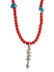 Valentino Arrow Pendant Bead Necklace Red Multi