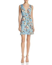 Aqua Floral Jersey Faux Wrap Dress 100 Exclusive