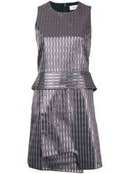Carven Striped Metallic Mini Dress Pink Purple