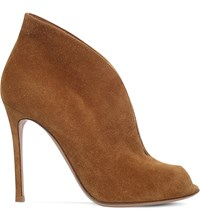 Gianvito Rossi Lombardy Suede Ankle Boots Camel