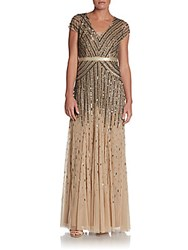 Adrianna Papell Embroidered Chiffon Gown Nude