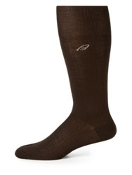 Brioni Ribbed Cotton Dress Socks Dark Brown