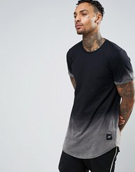 Sixth June Curved Hem T Shirt In Dip Dye Black
