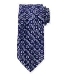 Charvet Large Medallion Silk Tie Blue