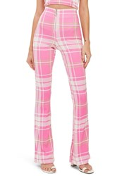 Topshop Bright Check High Waist Flare Leg Trousers Pink Multi