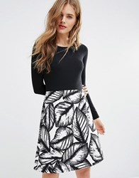 Traffic People The Way We Were Double Take Dress In Mono Floral Blac Black