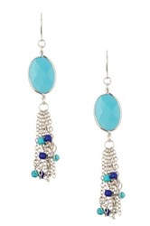 Spring Street Oval Stone Drop Earrings Blue