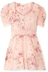 Loveshackfancy Cora Floral Print Silk Georgette Mini Dress Pink
