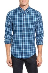 Gant Men's Regular Fit Tartan Plaid Twill Sport Shirt Luminary Navy