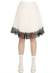 Red Valentino Swiss Dot Tulle Skirt With Lace Trim