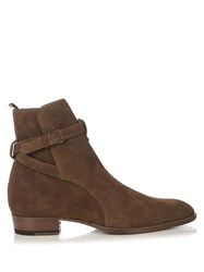 Saint Laurent Hedi Suede Ankle Boots Light Brown