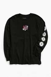 Urban Outfitters Embroidered Blessings Long Sleeve Tee Black