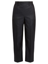 Christophe Lemaire Cotton Blend Cropped Straight Leg Trousers Navy