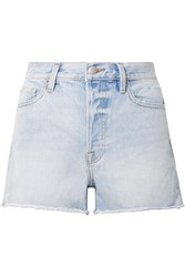 Frame Rigid Re Release Le Original Distressed Denim Shorts Light Denim