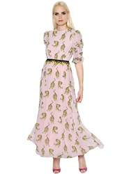 Giamba Tigers Printed Georgette And Lace Dress