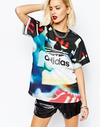 Adidas Oversized Boyfriend T Shirt With All Over Shoe Chaos Print Multicolor