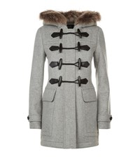 Burberry Wool Duffle Coat With Detachable Fur Trim Female Light Grey