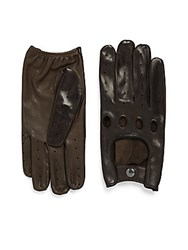 Saks Fifth Avenue Leather Touch Sceen Compatible Gloves Brown