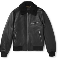 Rag And Bone Shearling Trimmed Leather Aviator Jacket Black