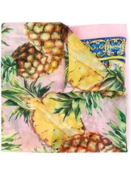 Dolce And Gabbana Pineapple Print Scarf Women Silk One Size Pink Purple