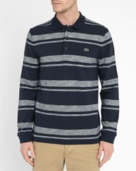 Lacoste Blue Stripe And Mottled Grey Regular Fit Ls Polo Shirt